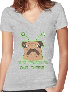 The Pug Files- fawn fur Women's Fitted V-Neck T-Shirt