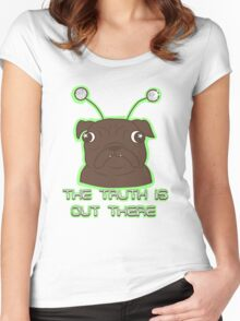 The Pug Files- black fur Women's Fitted Scoop T-Shirt