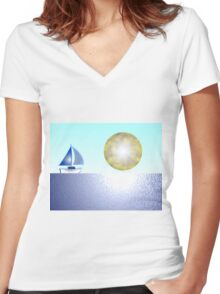 Sail Boat iPhone / Samsung Galaxy Case Women's Fitted V-Neck T-Shirt