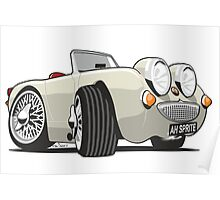 Austin Healey Sprite caricature old English white Poster