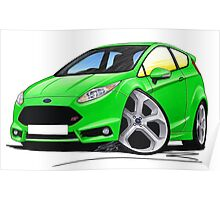 Ford Fiesta (Mk7) ST Green Poster