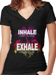Inhale Exhale (White text) Women's Fitted V-Neck T-Shirt