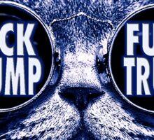 Hipster Cat Hates Trump Sticker