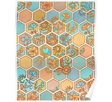 Golden Honeycomb Tangle - hexagon doodle in peach, blue, mint & cream Poster