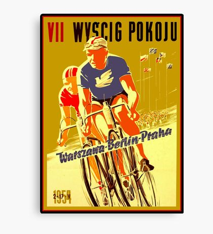 WYSCIG POKOJU; Vintage Bicycle Road Race Print Canvas Print