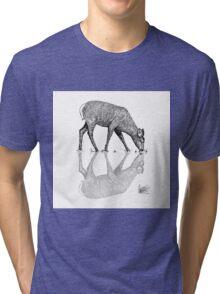 Reflective Deer Line Work Vector  Tri-blend T-Shirt