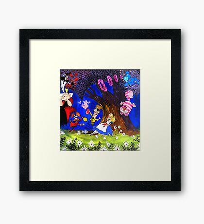 Alice In Wonderland On Canvas Framed Print