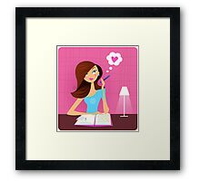 Teenage girl writing diary and dreaming about love Framed Print