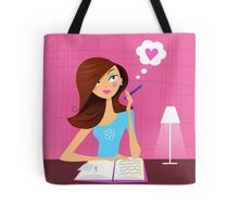 Teenage girl writing diary and dreaming about love Tote Bag