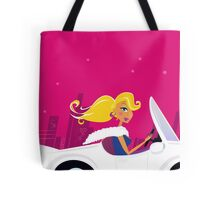 Girly Chick Driver in a Convertible Car Tote Bag