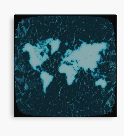 World Map TV Canvas Print