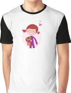 Happy little girl hugging teddy bear. Cute little girl with her new toy - Teddy Bear Graphic T-Shirt