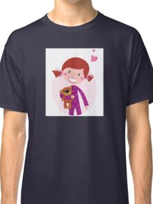 Happy little girl hugging teddy bear. Cute little girl with her new toy - Teddy Bear Classic T-Shirt