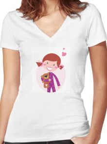 Happy little girl hugging teddy bear. Cute little girl with her new toy - Teddy Bear Women's Fitted V-Neck T-Shirt