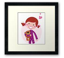 Happy little girl hugging teddy bear. Cute little girl with her new toy - Teddy Bear Framed Print