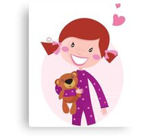 Happy little girl hugging teddy bear. Cute little girl with her new toy - Teddy Bear Canvas Print