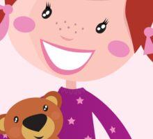 Happy little girl hugging teddy bear. Cute little girl with her new toy - Teddy Bear Sticker
