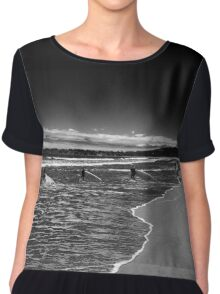 Surfers in Black Chiffon Top