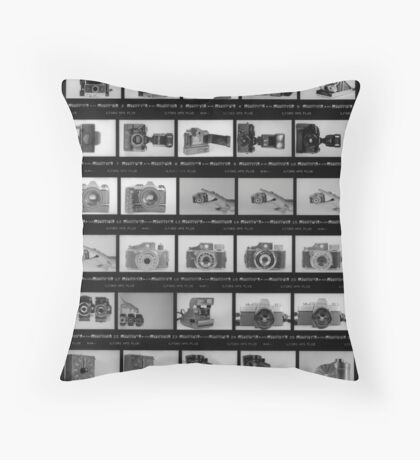 Black and White Contact Sheet Throw Pillow