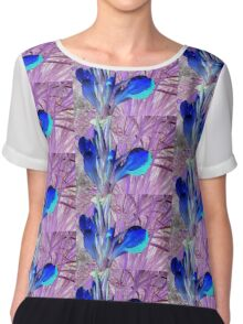 Inverse Color Flowers Chiffon Top