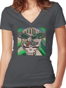 Poised for Flight Wings Spread Bright Women's Fitted V-Neck T-Shirt