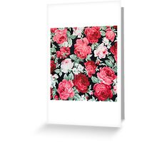 shabby chic,red,pink,white,roses,black,background,trendy,modern,chic,elegant,country chic Greeting Card