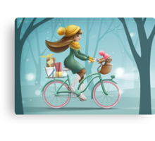 Girl riding a bike Canvas Print