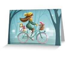 Girl riding a bike Greeting Card