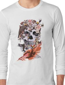 Birds, butterfly and Sugar Skull Long Sleeve T-Shirt