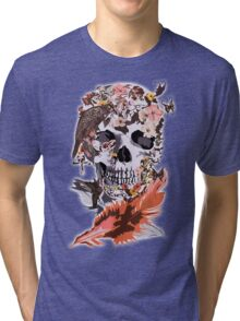 Birds, butterfly and Sugar Skull Tri-blend T-Shirt