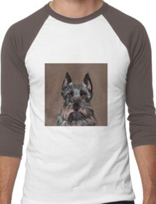Miniature Schnauzer Water Color Art Painting Men's Baseball ¾ T-Shirt
