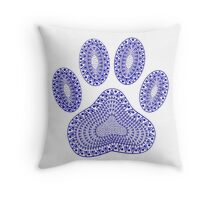 Abstract Blue Ink Dog Paw Print Throw Pillow