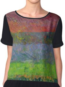 Abstract Landscape Series - Blue Waters Chiffon Top