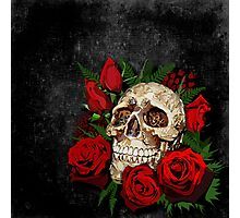 Red Rose Sugar skull Photographic Print