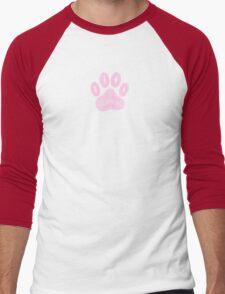 Abstract Pink Ink Dog Paw Print Men's Baseball ¾ T-Shirt