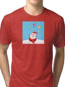 Cute christmas Santa on snow in red costume Tri-blend T-Shirt