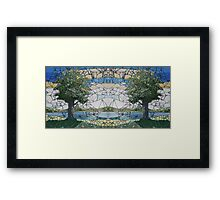 Stained Glass Mosaic Landscape Mirror Framed Print