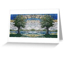 Stained Glass Mosaic Landscape Mirror Greeting Card