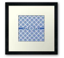 Blue and White 1930s Damask Framed Print