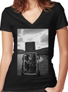 Mamiya C220 on Location. Women's Fitted V-Neck T-Shirt
