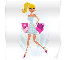 Woman Shopping in the City with Town silhouette in background Poster