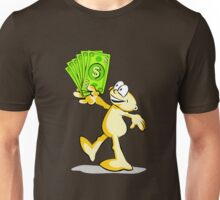 Cartoon with many dollars in hand Unisex T-Shirt