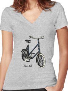 "Vintage 30s blue Bike ""biker kid"" Women's Fitted V-Neck T-Shirt"