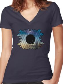 Quindustries R&D Logo City to Space Women's Fitted V-Neck T-Shirt