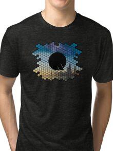 Quindustries R&D Logo City to Space Tri-blend T-Shirt