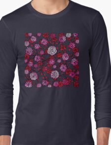 Climbing Roses red and pink mirror pattern  Long Sleeve T-Shirt
