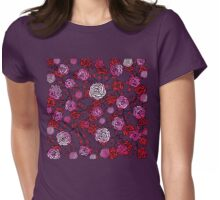 Climbing Roses red and pink mirror pattern  Womens Fitted T-Shirt