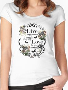Live Laugh Love Inspirational text quote floral print Women's Fitted Scoop T-Shirt
