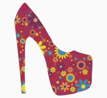 High Heel Shoe, Flowers - Red Yellow Blue  Kids Clothes