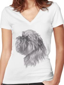 Brussels Griffon Dog Portrait Drawing Women's Fitted V-Neck T-Shirt